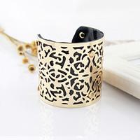 al por mayor pulseras de oro india-PU de cuero de la pulsera de la nueva joyería india ahueca hacia fuera grande del color del oro Manguito brazaletes y pulseras