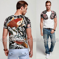 Men Cotton Round New 2014 Summer Tattoo Float world draw zhi dou carp Men T Shirt, Brand Short Sleeve T-shirt, Cotton Round Collar T-Shirt
