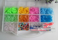 Wholesale rainbow loom kit clear plastic box for Kids come with Rubber bands S clip Loom hook PVC box in stock