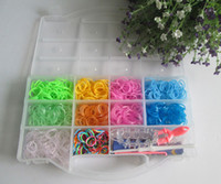 Wholesale rainbow loom kit clear plastic box for Kids come with Rubber bands S clip Loom hook PVC box DHL Free