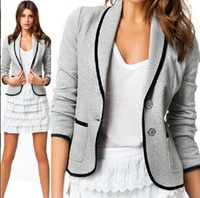 Wholesale 2014 New Fashion Spring Women Blazer Short Design Turn Down Collar Slim Blazer Grey Short Jacket long sleeve Coat