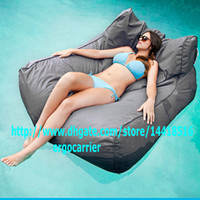 bean bag loungers - Waterproof Grey SUN LOUNGER BED OUTDOOR LOUNGER BEAN BAG BEANBAG CHAIR Stylish float on water relax on land in function