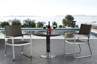 Wholesale outdoor furniture brushed aluminum PE rattan and dining chairs andtable set GW CT031