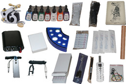 Wholesale 22 two tatto machine with blue plastic ink cap holder high quality Permanent Tattoo Kit