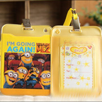 Wholesale Cute Cartoon Despicable Me Yellow People cm ID Holder Card Package With The Rope Practical for Kid Children Ring Free DHL Shipping