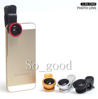 Wholesale REAL GLASS Universal in1 Clip On Fish Eye Lens Wide Angle Macro Mobile Phone Lens For iPhone Samsung Galaxy S4 S5 All Phones fisheye