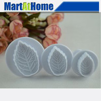 Wholesale 2set set cake tools Rose Leaf Plunger Cutter Mold Fondant Cake Decorating Kitchen Tools BK029 CF