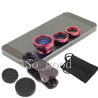 Wholesale Universal in1 Clip On Fish Eye Lens Wide Angle Macro Mobile Phone Lens For iPhone Samsung Galaxy S4 S5 All Phones fisheye DHL free
