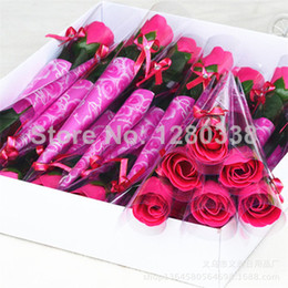 Wholesale 30PC Rose Flower Soap with Crystal Wedding Favor Rose soap flower Valentine s Day Mother s Day Teacher s Day Gift