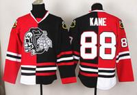 Wholesale 88 Patrick Kane Jersey New Blackhawks Split Fashion Hockey Jerseys Red And Black Ice Skull Hockey Wears Name Logo Sewn On Best Jersey