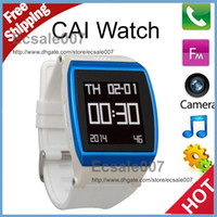 Wholesale Unique Design Cai Watch Mobile Phone Partner Bluetooth watch SPY Camera MP3 DV FM Sports Pedometer Vibration Alert