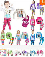 Unisex Summer 2T 2014 Frozen Princess children's clothing sets,cut cartoon girls pajama sets,toddler baby kids pijama sleepwear suit6sets 12pcs