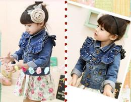 Wholesale Sample Order One PieceRetail Children Outerwear Jacket Euro Brand Designer Coats For Children Baby Girl Denim Jacket L30790