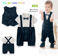 Unisex Spring / Autumn - Wholesale Children suits boy gentleman false sling vest Romper + 2 sets of 36 * 5 BS012