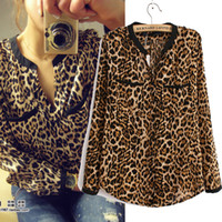 Casual Women Chiffon Spring Clothes Hot Sale Sexy Women Casual Wild Leopard Shirt Long-sleeved Top Shirt S M L for Choice Free Shipping