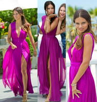 Wholesale 2015 New Sexy Deep V Neck Evening Dresses with Purple Chiffon Sleeveless High Side Slit Party Prom Formal Celebrity Gowns Adriana Lima