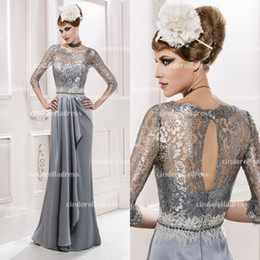 Wholesale 2015 Silver shine scoop mermaid full length hot mother of the bride dresses long sleeves hollow back sexy evening gown prom dress MG2535