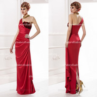 Reference Images One-Shoulder Stretch Satin 2015 red sexy formal evening dresses ruffles prom gowns hot sale mother of the bride dresses plus size celebrity wedding party dress MG2540