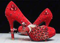 Wholesale New Arrival Honorable peacock crystal chinese bridal shoes red high heels wedding pumps rhinestone platform party shoes