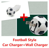 Car Chargers Universal For US 2014 Newest Football Style Fold EU US Plug Home Travel Adapter Wall Charger+Car Charger For iPhone 5 5S 5C 6 Galaxy S5 s5 mini note 3