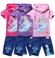Wholesale Snow ice two piece T shirt jeans Elsa children hoodies Frozen cartoon kids clothing princess trousers sets YS
