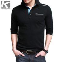 Men Cotton Polo High Quality! Kuegou Brand Polo Shirts Men's Fashion Long Sleeve Shirt, Turn-down Collar Cotton Shirts M-XXL Free Shipping