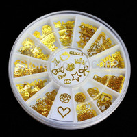 Decal 2D Plastic 180pcs Gold Nail Art Metal Sticker Decorations Acrylic Tips Metal Slice Wheel Tiny Mixed Design +Wheel