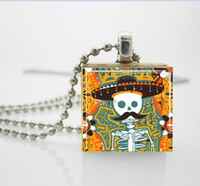 Pendant Necklaces aa sugar - Sugar Skull with Mustache Mexican Day of the Dead Jewelry Scrabble Tile Pendant with Ball Chain Necklace Included AA