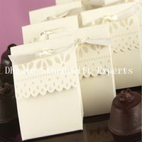 Wholesale 60PCS Cute Beige Favor Boxes Ribbon for Wedding Candy Gift Chocolate Boxes