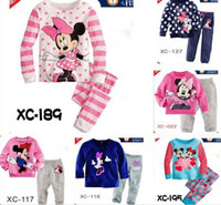 Unisex Summer 2-3-4-5-6-7Y 6 sets lot baby girl's minine-mouse dot striped pajamas suit children cartoon pyjamas kids clothing