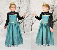 Wholesale 2014 Frozen Spring Autumn Winter Dress Movie Cosplay Anna Dress long sleeve Girl Dress Frozen Princess Costume for Children Y