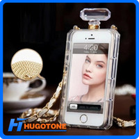 Wholesale 2014 Perfume Bottles Phone Case TPU Protective Case With Chain for Iphone S S Note2 Note3 S3 S4 S5 Retail Package PVC Colorful Box