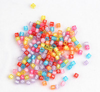Wholesale loom band bead MM square letters scattered beads bag
