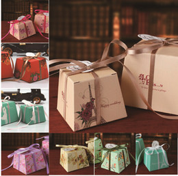Wholesale 120 Multi Coloured Flower Patterned Chocolate Gifts Candy Favors Boxes With Ribbon for Wedding Party