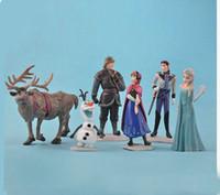 Wholesale New Fashion Frozen Anna Elsa Hans Kristoff Sven Olaf PVC Action Figures Toys Classic