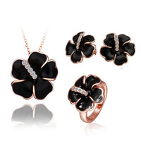 Wholesale Best Gift Plated K Gold Black White Rose Flower Pendant Necklace Stud Earrings Rings Set Fashion Elegant Wedding Jewelry Set