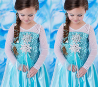 Wholesale New Arrival Frozen Princess Blue Elsa Dresses With White Lace Wape Girls New Fashion Frozen Dresses Ready Stock LY
