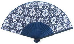 free shipping 100 Pcs Collapsible Chinese Blue bamboo fan silk hand fan craft home decor gift high quality