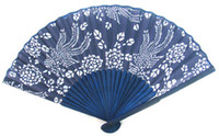 Wholesale Collapsible Chinese Blue bamboo fan silk hand fan craft home decor gift high quality