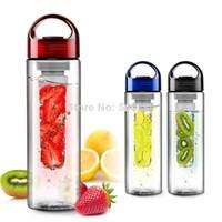 Wholesale sports fruit water bottle Tritan plastic cup outside sport lemon emperorship fruit cup