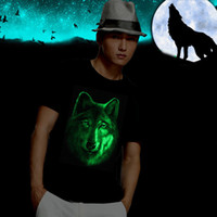 Wholesale Men s Dancecub Glow Night Light T shirt D Wolf Print Tees Summer Shirt Short Sleeve Brand Tops M XXL Big Size Cotton Tees