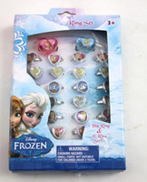 Band Rings Gift Plastic Cartoon Children Girl Kids Jewelry Frozen Cartoon Rings 750 pcs lot Retail 25 box Random Designs
