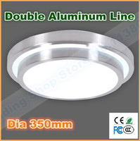 Wholesale 2014 new Double Aluminum line Led Ceiling Light Dia mm V W Indoor Bedroom Kitche living room lamp warm cool white
