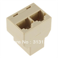 Wholesale 20Pcs RJ45 for CAT5 Ethernet Cable LAN Port to Socket Splitter Connector Adapter DropShipping