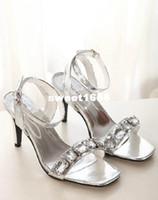 Women Stiletto Heel PU Luxury Square toe Silver Black With Big Gem Dress Sandals Wedding Shoes Sexy Women Prom Gown Dress Shoes Summer Sandals size 34 to 39