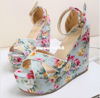 Women Wedge Straw ViVi Lena sweet blue floral calico wedge heel sandals ankle strappy high platform sandals shoes with flower summer sandals size 34 to 39
