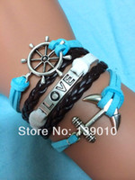 Charm Bracelets Men's Fashion Free Shipping!12PCS LOT!New Fashion Metal Silver Rudder Anchor LOVE Mixed Charm Jewelry Leather Suede Lobster Clasp Braelet C-194