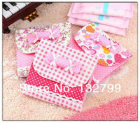 Fabric Bedding Folding Candy Bowknot Sanitary Towel Napkin Pad Purse Holder Case Easy Paper Bag Organizer