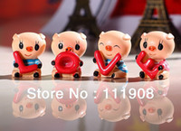 Europe Figurine Wedding Decoration & Gift Free shipping 4pcs=1set Car Ornament MINI LOVE pig doll gadget Resin craftwork as Car furnishing articles as car accessory.