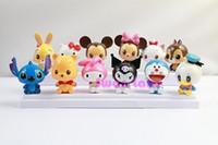 Unisex 5-7 Years Multicolor 12style SET Mini Hello Kitty Mickey Mouse Minnie Donald Duck Doraemon Stitch Toys Gifts for Kids Children Dolls For Girls